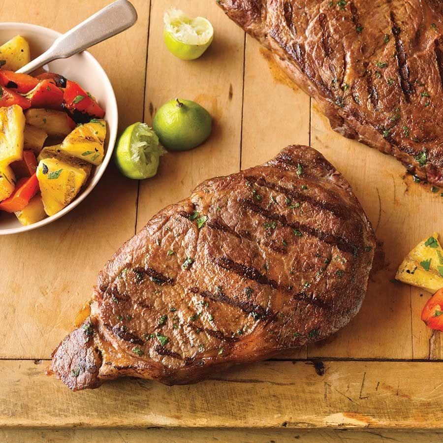 Hawaiian Ribeye Steaks with Grilled Pineapple Salad