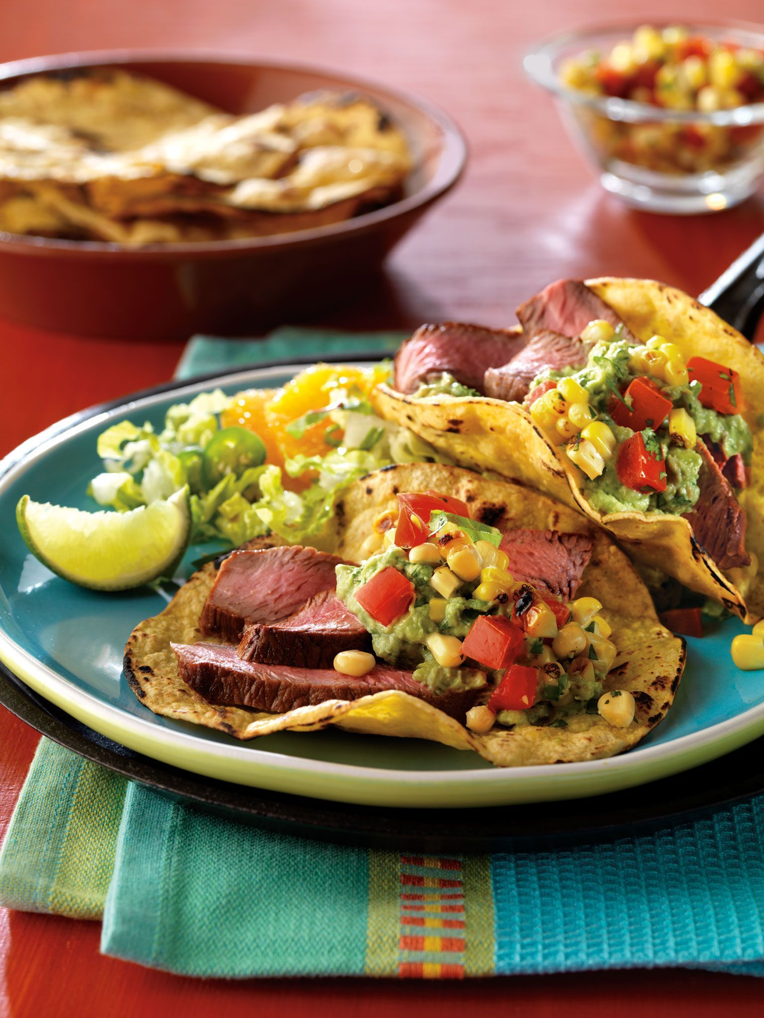Cumin - Rubbed Steak Tacos with Spicy Grilled Corn Salsa