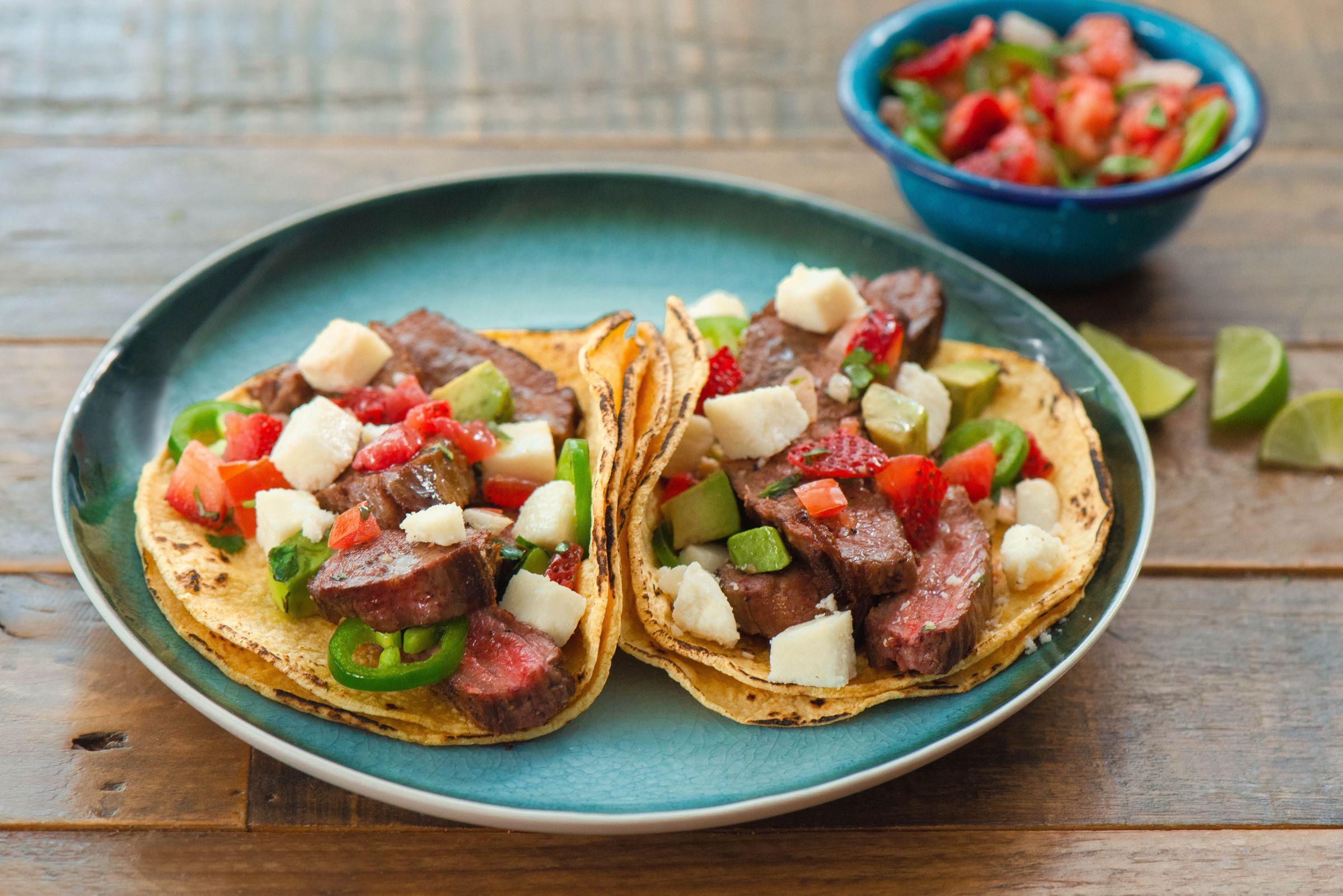 Carne Asada Tacos with Strawberry Pico de Gallo