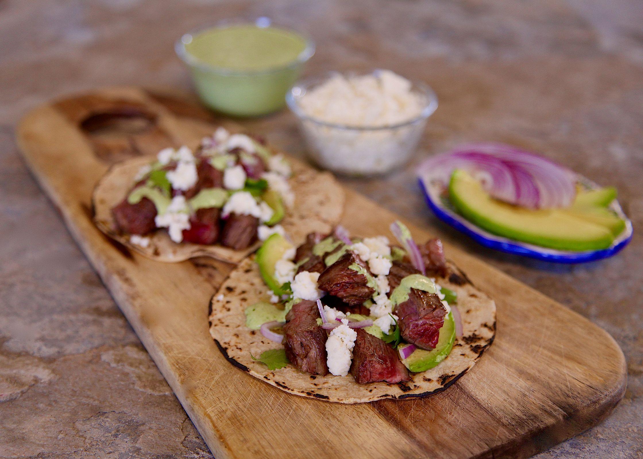 Carne Asada Crema Verde Tacos